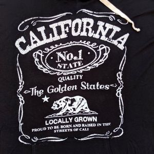 California Black Hoodie Sparkle Thin Knit Pocket